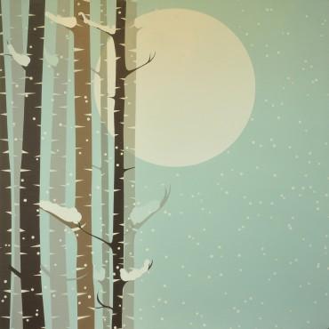 "Abedules en luna llena. De la Serie ""País de nieve"""