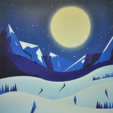 """Claro de luna. De la Serie """"País de nieve"""""""